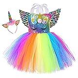 Sincere Party Vestido de tutú de unicornio para niñas Vestido de cumpleaños de unicornio arcoíris esponjoso con diadema y alas 4-5 años