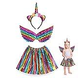 JOOPOM 3 piezas Disfraz de Unicornio para Niña Vestido de Unicornio para Niña Alas de Angel Diademas de Unicornio Artículos de Cumpleaños Cosplay Carnaval