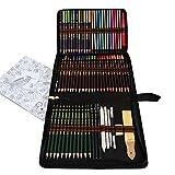 72 lapices Colores Profesionales,Kit para Dibujar a Lapiz,Dibujos a Lapiz con Color y Herramientas de Dibujo,Incluye lápices metálicos,acuarelables,carbón,lápices Pastel y Caja de lápiz