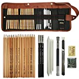 Cooja Set de Lapices de Dibujo, Lapiz Kit de Arte Material de Dibujo con Lapices Grafito e Lapices Carboncillo, Set de Artista para Bosquejo