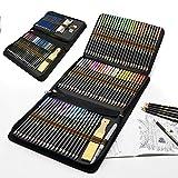 Lápices acuarelables profesionales, 96 Pieza Set de Dibujo Artista Kit con Lapices de Colores, Lápices de Dibujo y Bosquejo Material de dibujo, Ideal para Artistas, Adultos y Niños