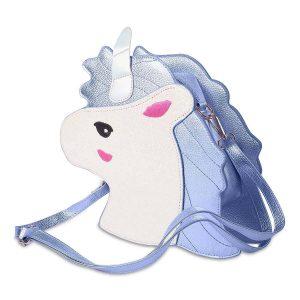 bolso con forma de cabeza de unicornio