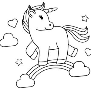 Dibujos de unicornio Kawai para colorear